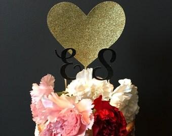 Wedding cake topper - heart and initias cake topper