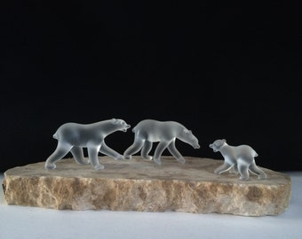 Handblown Glass Polar Bear Family Sculpture