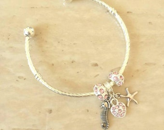 SALE ~ Starfish Seahorse Heart Charm Pink Rhinestone Silver Plated Lined Bangle Bracelet 7.5 Inches