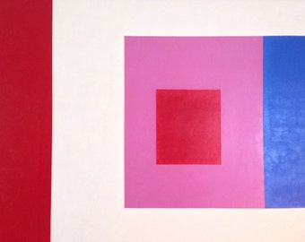 Mid Century Modern Large Modernist Painting in the manner of Josef Albers by artist: Gerald 1972