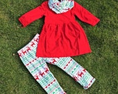 Baby Toddler Girls 3-Pc Christmas Holiday Red Top  and  Reindeer Snowflake Print Leggings Boutique Outfit Set W/ Matching Infinity Scarf