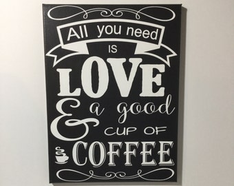 Coffee sign - cute office decor - kitchen decor - gift for coffee lover - coffee wall art