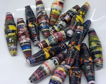 Paper Beads. Multi Coloured - Eco Friendly - OOAK