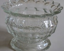 Vintage Glassware - Vintage 1930s Glass Footed Bowl with Shaped Rim