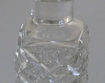 Vintage Glassware - Antique Edwardian Cut Glass Perfume Scent Bottle & Facetted Stopper