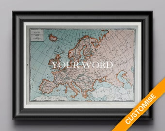 Vintage map of Europe (genuine 1941 antique) handcut with custom personalized words