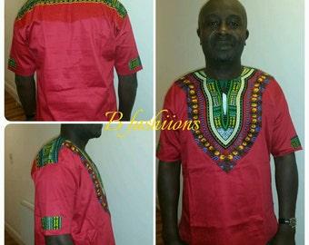 Red Dashiki Shirt Large