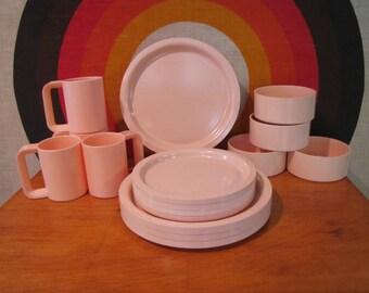 RESERVED Kasen Dining Set, Service for 4, 4 Mugs, 4 Bowls, 4 Salad Plates, 4 Dinner Plates, Pale Pink, Melamine, Peter Pan Industries, USA