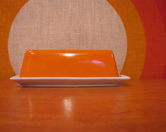 Retro Butter Dish, Orange and White Ceramic Butter Dish, Vintage Covered Butter Dish, 1970's Kitchen Decor, Mid Century Mod Butter Dish