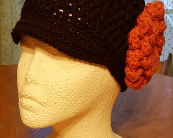 Crochet Newsboy hat with flower/newborn child teen women/winter/christmas