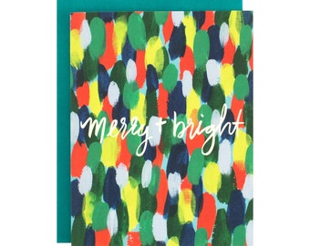 Watercolor Hand LetteredHoliday Card, Colorful Holiday, Merry and Bright, Christmas Card, Hand painted