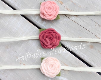 Baby Flower Headband, Baby Headband, Flower Headband, Blush Flower Headband, Felt Flower Headband, Flower Headband Set, Newborn Headband