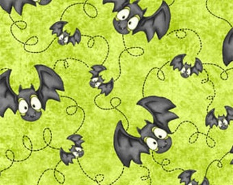 Jeepers Creepers by Henry Glass - Bats Green - Cotton Woven Fabric