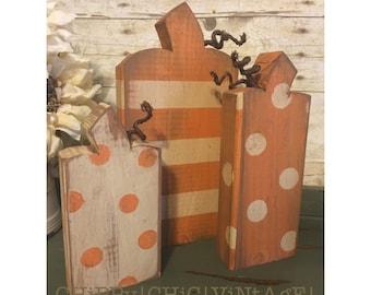 Wooden Pumpkins, Polka Dot Pumpkins, Pumpkin Decor | Wood Pumpkins, Fall Decorations, Rustic Pumpkins, Distressed Pumpkins