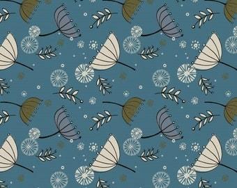 Blue Floral Print Jersey Knit Fabric, Cotton Jersey Fabric ,Stretch Jersey Fabric, Jersey Fabric - Half Metre
