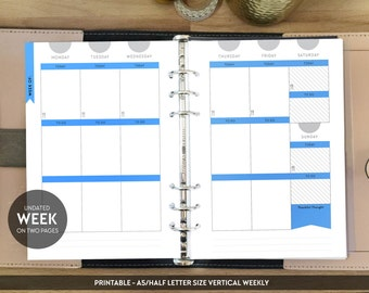 PRINTABLE Weekly Inserts | Week on Two Pages Inserts | Undated Weekly Planner | Filofax Vertical | A5 Printable Planner | Erin Condren Style