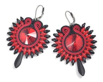 Gothic Earrings, Victorian Earrings, Red Black Jewelry, Soutache Jewelry, Crystal Earrings, Romantic Earrings, Orecchini Soutache, Gift Idea