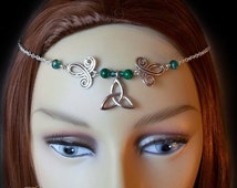 Malachite Triquetra Circlet, Renaissance Circlet, Medieval Headpiece, Pagan Headdress, Green Circlet, Wiccan, Wicca, High Priestess, Celtic