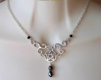 Pentagram & Triskele Necklace, Hematite Necklace, Celtic Necklace, Gemstone Necklace, Triskelion, Pentacle, Pagan, Druid, Wiccan, Wicca,Goth