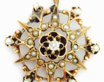 Victorian 9K Rose Gold Seed Pearl and Diamond Pendant