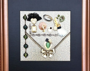 """vintage jewellery wall artwork named""""The Old Lady's Memories"""""""