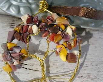 Mookaite wire wrapped tree of life necklace