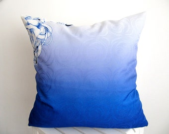 SALE!!! Saxe Blue Pillow Cover Saxe Pillow Case Digital Printed Cushion Cover Throw Pillow Cover Decorative Pillow  Accent 18''