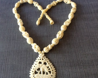Faux Ivory Carved Elephant Souvenir Necklace Teardrop Shaped Pendant