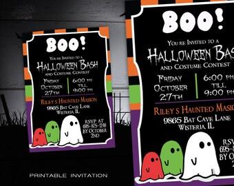Halloween Party Invitation Kids - DIY Halloween Costume Party Invite - Halloween Invitations Printable - Spooky Halloween Invites
