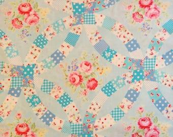 Lecien Flower Sugar Fabric - Blue Wedding Ring Pattern
