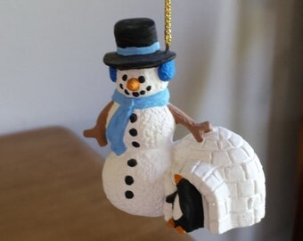 Ceramic Snowman with igloo and Penguin Ornament (#528)