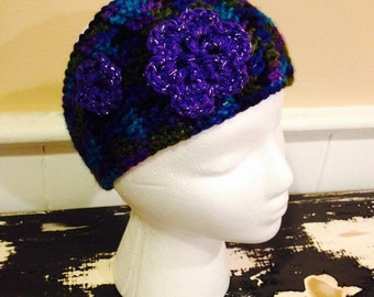 Extra Wide Earwarmer with Flowers