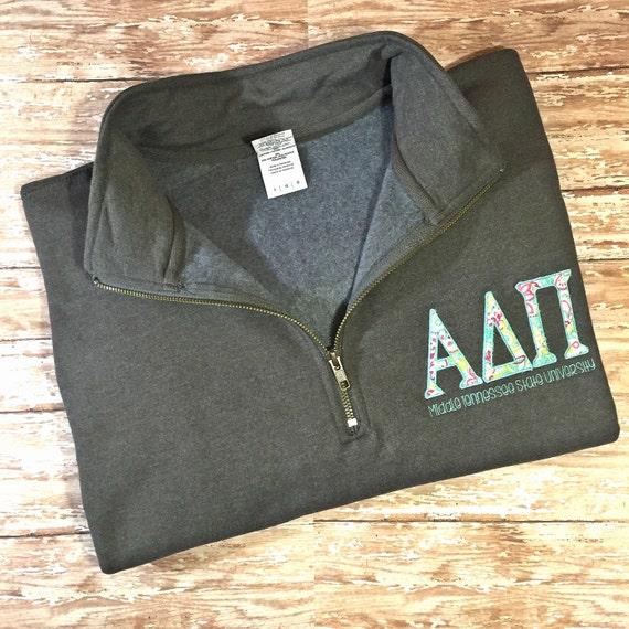 sorority quarter zip sweatshirt greek letters by savvistitches With quarter zip greek letters