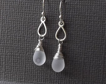 Small Teardrop Earrings Sterling Silver Tiny Dangle Earrings Wire Wrapped Frosted Drop Minimalist Womens Jewelry