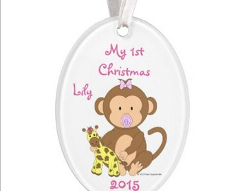 Baby's 1st Christmas Ornament - Monkey - Personalized