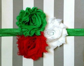 Christmas holiday headband with red, white and green flowers on matching elastic band for baby, toddler and adult
