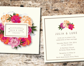 Pink Floral Wedding Invitation-  Including Envelopes
