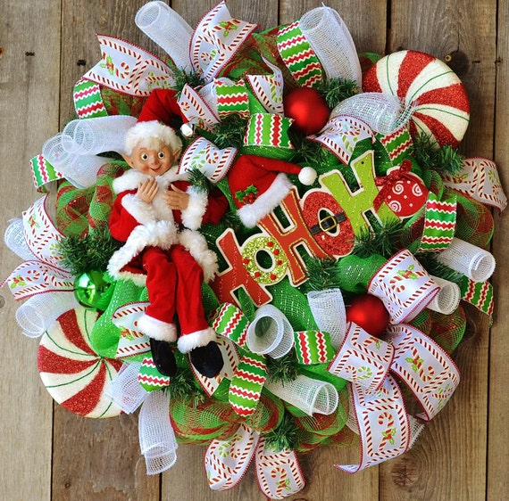 Elf Christmas Wreath! deco mesh Christmas wreath, HO HO HO sign, Christmas wreaths for front door,holiday wreath, decomesh christmas wreath