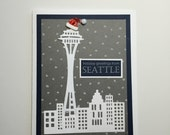 Handmade Holiday Greetings from Seattle Blue & Gray Christmas Cards | Buy Any 4 Cards, Get 1 FREE