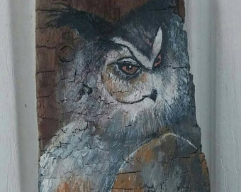 Owl #Great Horned Owl #Owl #fathers day #one of a kind #acrylic #barn wood 25 x 5 x 1 inches #wall hanging #man cave #cabin #cottage