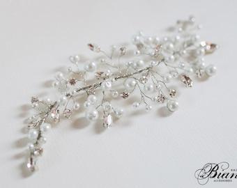 Bridal Headpiece, Pearl and Rhinestone Haipiece, Wedding Hairpiece, Bridal Hair Comb, Wedding Hair Accessories