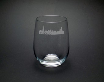 Chicago Skyline Etched Stemless Wine Glass