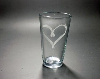 Etched Heart Pint Glass