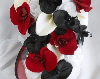 Black and red orchids cascading bouquet with white roses calla lilies bridal bouquet 2 pc