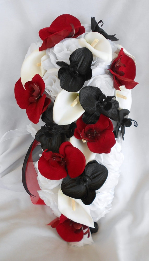 Cascading black and red orchids ,with white roses calla lilies bridal bouquet 17pc