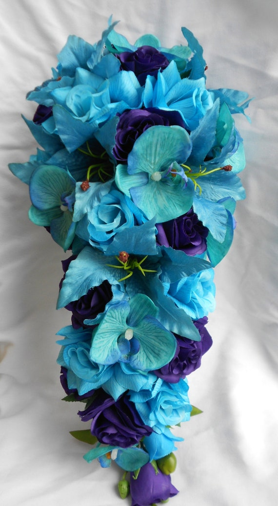 Malibu blue Orchids cascade bouquet and royal purple roses 2 pieces