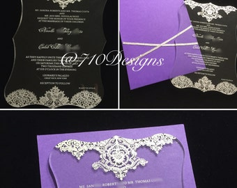 Acrylic Panel Pocket Wedding Invitation Suite