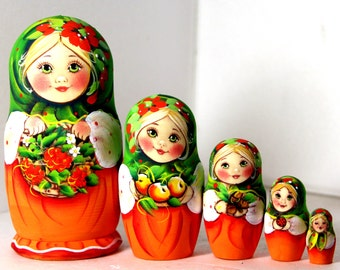Nesting doll Alina with rowan *handmade, collectible*