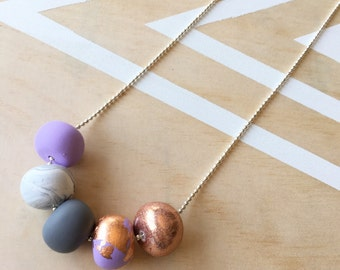 """Polymer clay bead necklace lilac, marble, copper foil, glitter, grey """"LILAC LOVE"""""""