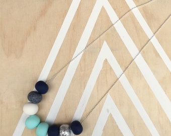 "Polymer clay bead necklace. Mint, grannite, navy, glitter, white ""THE HOLLY"""